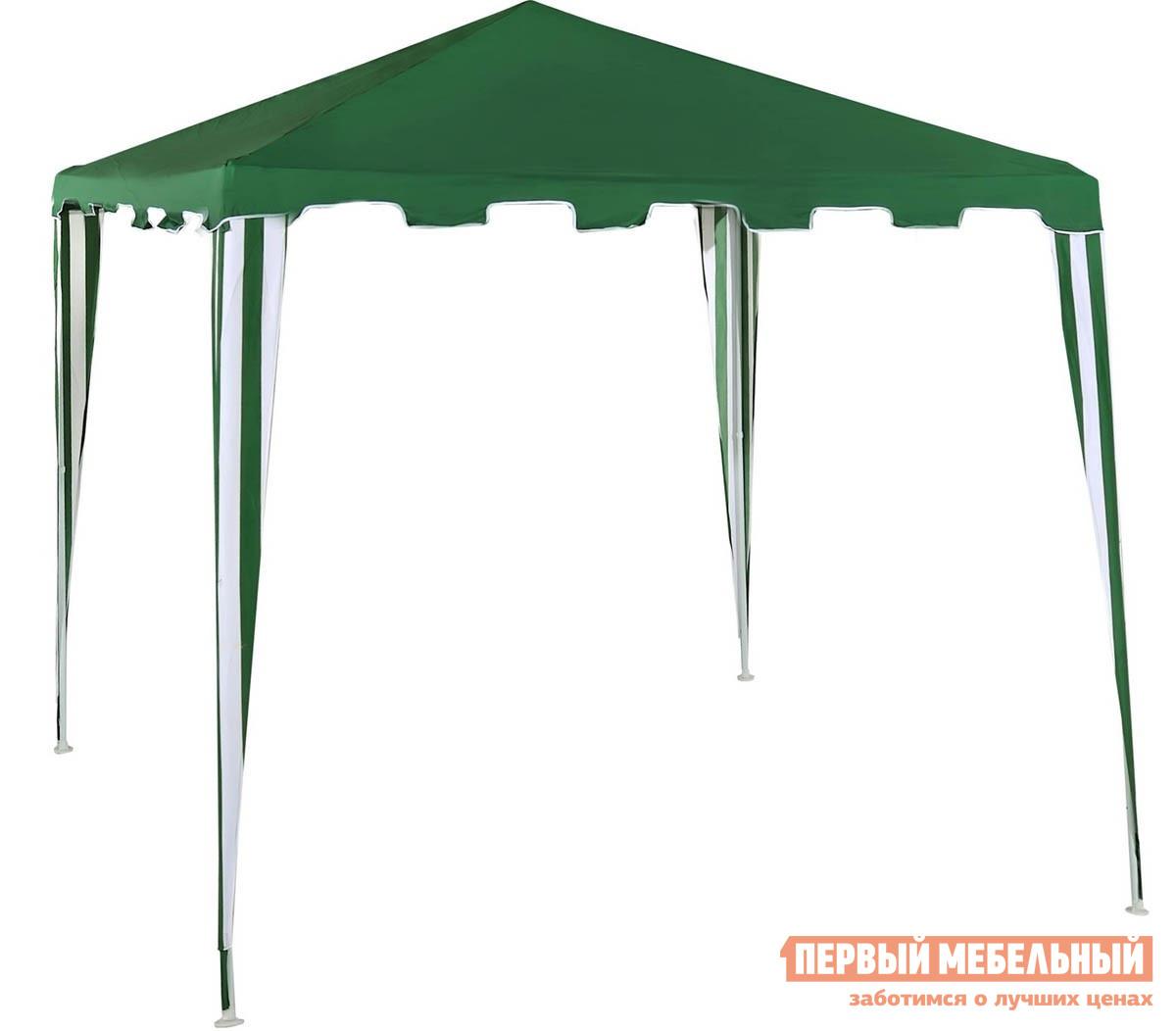 Шатер для дачи Green Glade Green Glade 1018 ЗеленыйШатры для дачи<br>Габаритные размеры ВхШхГ 2500x3000x3000 мм. Если вы обожаете расслабляться на природе или любите встречать гостей в летний теплый вечер у себя на даче, то этот шатер для вас.  Эта модель будет отлично смотреться на участке любого размера.  Прекрасный отдых на воздухе и позитивное настроение гарантированы с этой моделью тента. Тент из материала полиэстер 140 грамм без пропитки с водоотталкивающими характеристиками.  Тент непригоден для применения в сильную непогоду. Размер по нижнему периметру 3 х 3 м. Размер по верхнему периметру 2,4 х 2,4 м. Сложенный размер шатра: 115 х 13 х 17 см. Стойки конструкции не требуют вкапывания.  Данная модель устанавливается на бетон и закрепляется растяжкой, входящей в комплект.<br><br>Цвет: Зеленый<br>Высота мм: 2500<br>Ширина мм: 3000<br>Глубина мм: 3000<br>Кол-во упаковок: 1<br>Форма поставки: В разобранном виде<br>Срок гарантии: 6 месяцев<br>Тип: Разборные<br>Материал: Металл<br>Форма: Квадратные<br>Размер: 3х3